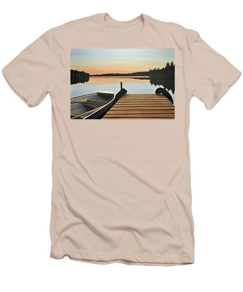 Men's T-Shirt (Slim Fit) featuring the painting Haliburton Dock by Kenneth M  Kirsch