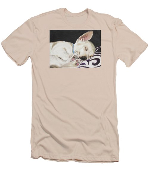 Men's T-Shirt (Slim Fit) featuring the painting Hanks Sleeping by Jeanne Fischer
