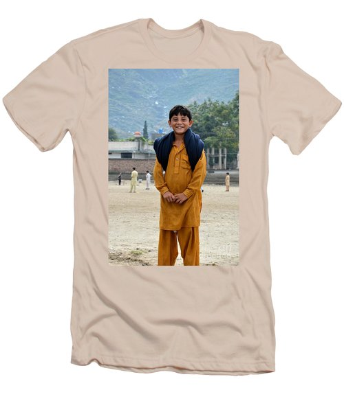 Men's T-Shirt (Slim Fit) featuring the photograph Happy Laughing Pathan Boy In Swat Valley Pakistan by Imran Ahmed