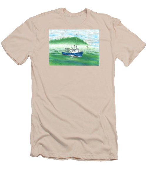 Men's T-Shirt (Slim Fit) featuring the drawing Harbor by Troy Levesque