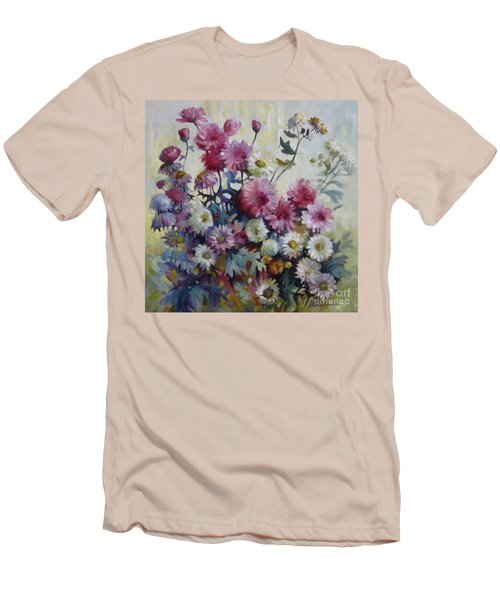 Men's T-Shirt (Slim Fit) featuring the painting Harmonies Of Autumn by Elena Oleniuc