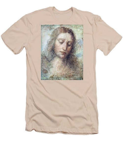 Men's T-Shirt (Slim Fit) featuring the drawing Head Of Christ Restoration Art Work by Karon Melillo DeVega