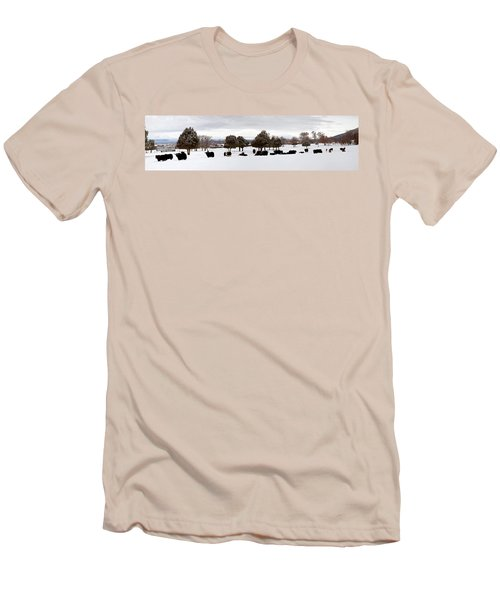Herd Of Yaks Bos Grunniens On Snow Men's T-Shirt (Slim Fit) by Panoramic Images