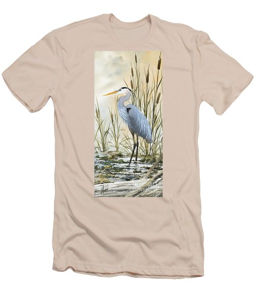 Heron And Cattails Men's T-Shirt (Slim Fit) by James Williamson
