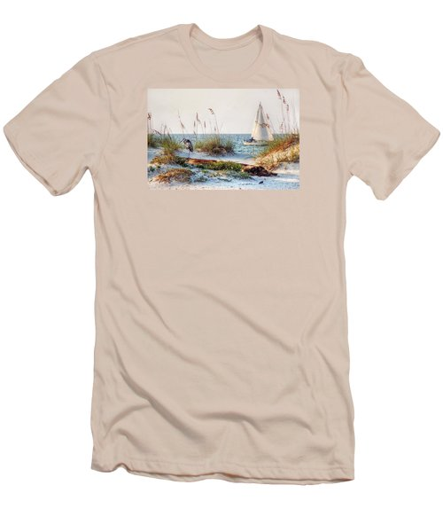 Heron And Sailboat Men's T-Shirt (Athletic Fit)