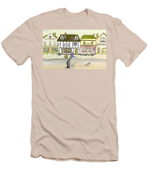 Men's T-Shirt (Slim Fit) featuring the painting High Street by Loredana Messina