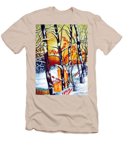 Highland Creek Sunset 2  Men's T-Shirt (Slim Fit) by Inese Poga