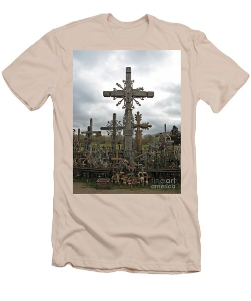 Hill Of Crosses 06. Lithuania.  Men's T-Shirt (Slim Fit) by Ausra Huntington nee Paulauskaite