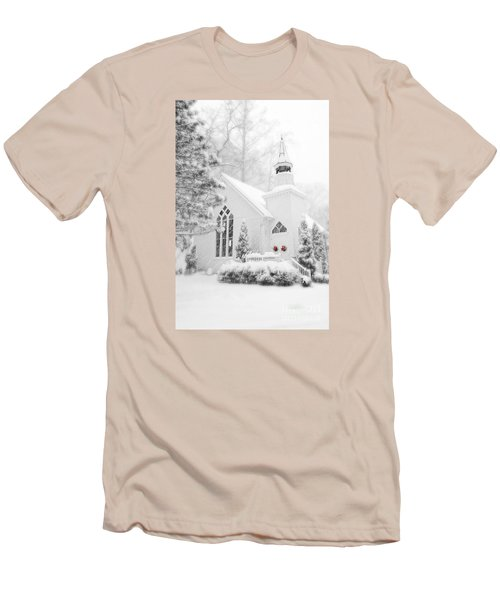 Men's T-Shirt (Slim Fit) featuring the photograph White Christmas In Oella Maryland Usa by Vizual Studio