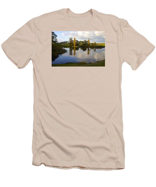 Autumn At Hobbiton Lake New Zealand Men's T-Shirt (Slim Fit) by Venetia Featherstone-Witty
