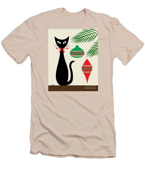 Holiday Cat On Cream Men's T-Shirt (Athletic Fit)