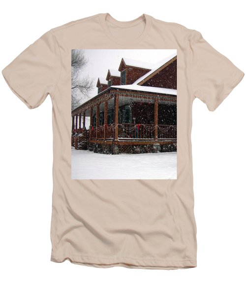 Holiday Porch Men's T-Shirt (Slim Fit) by Claudia Goodell