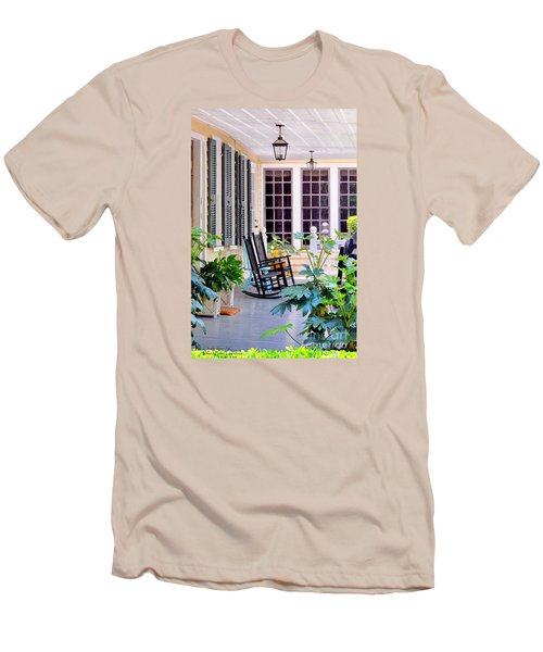 Veranda - Charleston, S C By Travel Photographer David Perry Lawrence Men's T-Shirt (Slim Fit) by David Perry Lawrence