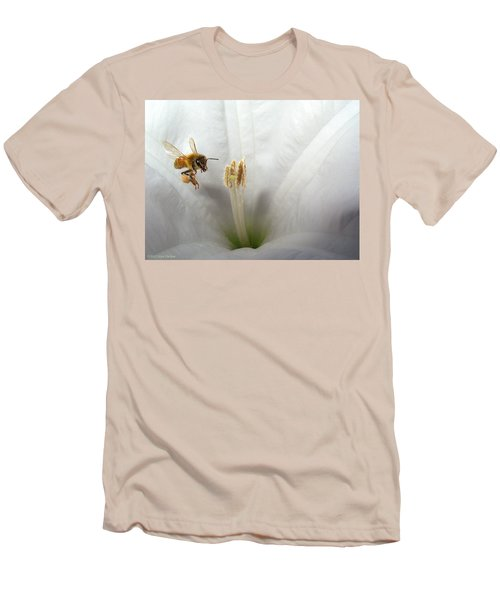 Honey Bee Up Close And Personal Men's T-Shirt (Slim Fit) by Joyce Dickens