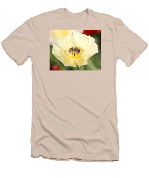 Honeybee On Cream Poppy Men's T-Shirt (Slim Fit) by Lucinda VanVleck