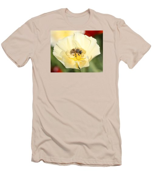 Honeybee On Cream Poppy Men's T-Shirt (Athletic Fit)