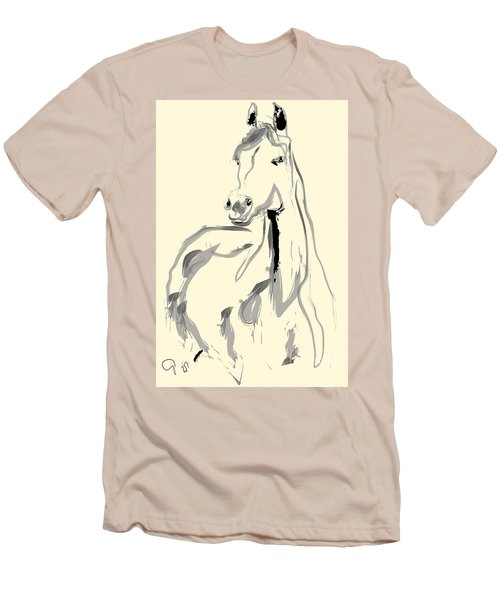 Men's T-Shirt (Slim Fit) featuring the painting Horse - Arab by Go Van Kampen