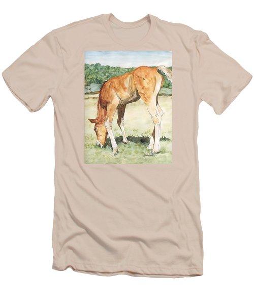 Horse Art Long-legged Colt Painting Equine Watercolor Ink Foal Rural Field Artist K. Joann Russell  Men's T-Shirt (Slim Fit) by Elizabeth Sawyer