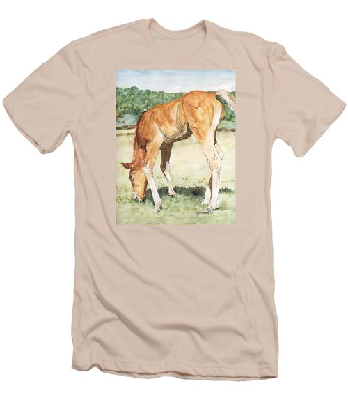 Horse Art Long-legged Colt Painting Equine Watercolor Ink Foal Rural Field Artist K. Joann Russell  Men's T-Shirt (Athletic Fit)