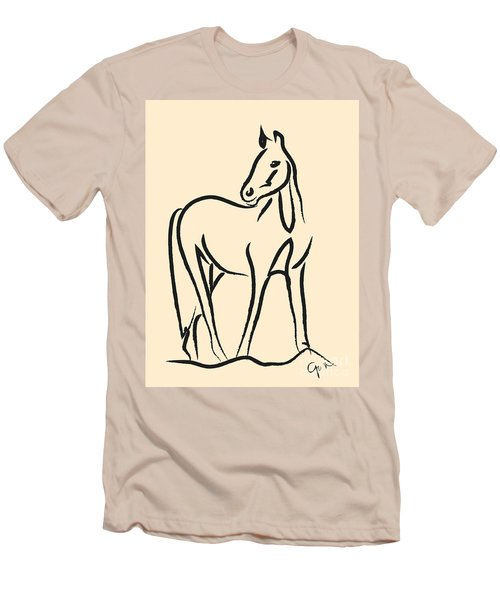 Men's T-Shirt (Slim Fit) featuring the painting Horse - Grace by Go Van Kampen