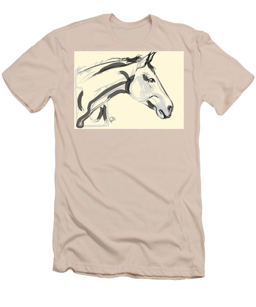 Men's T-Shirt (Slim Fit) featuring the painting Horse - Lovely by Go Van Kampen