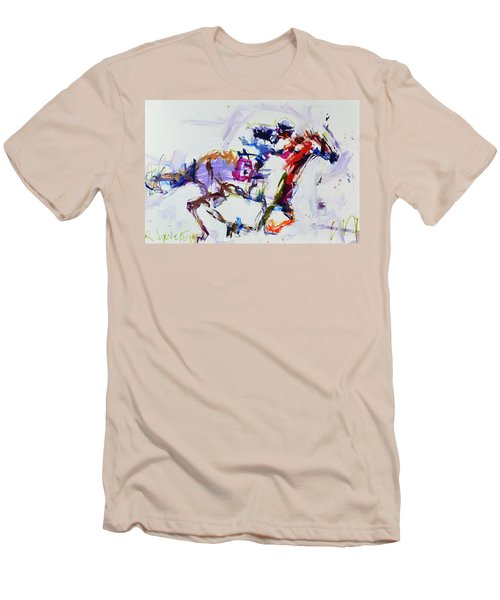 Horse Racing Print Men's T-Shirt (Athletic Fit)