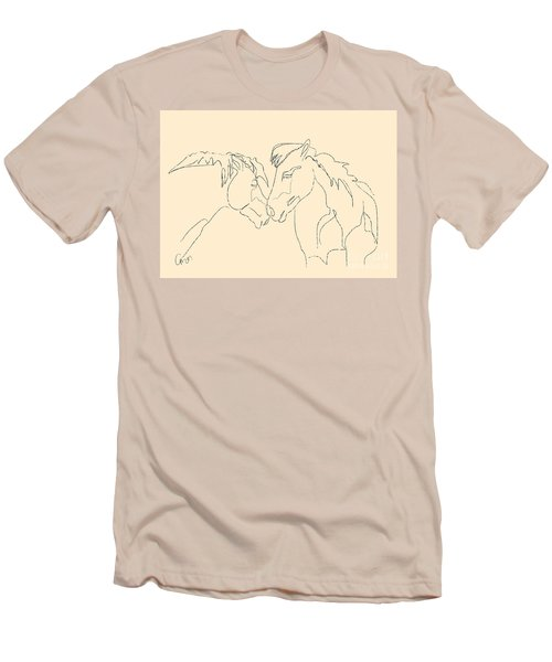 Men's T-Shirt (Slim Fit) featuring the painting Horse - Together 3 by Go Van Kampen