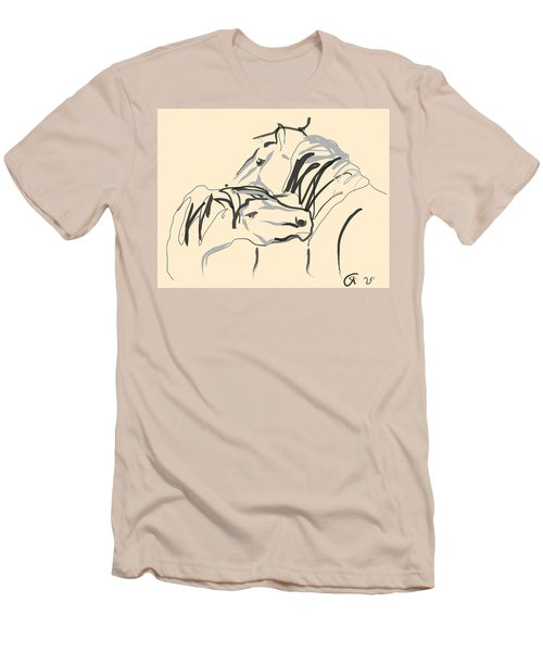 Men's T-Shirt (Slim Fit) featuring the painting Horse - Together 4 by Go Van Kampen