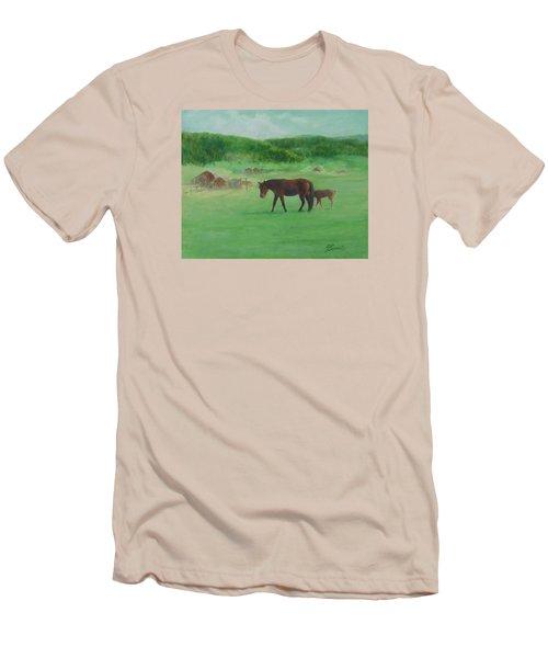 Horses Rural Pasture Western Landscape Original Oil Colorful Art Oregon Artist K. Joann Russell Men's T-Shirt (Slim Fit) by Elizabeth Sawyer