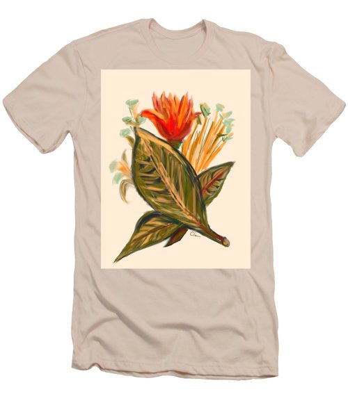 Men's T-Shirt (Slim Fit) featuring the digital art Hot Tulip Spring by Christine Fournier