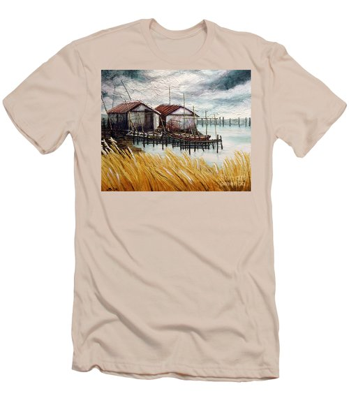 Huts By The Shore Men's T-Shirt (Athletic Fit)