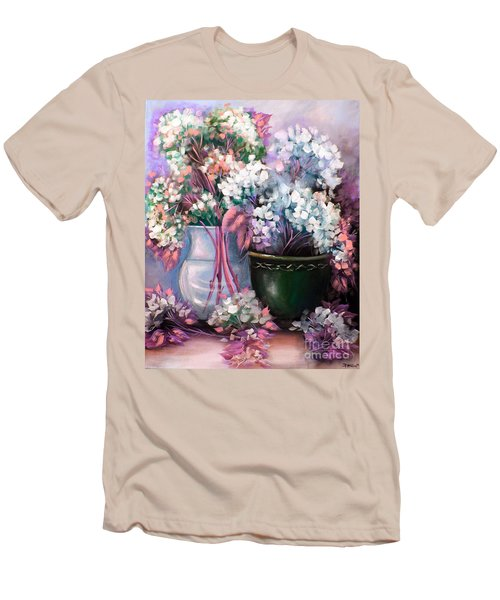 Men's T-Shirt (Slim Fit) featuring the painting Hydrangeas Still Life Pink by Patrice Torrillo