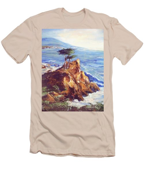 Men's T-Shirt (Slim Fit) featuring the painting Imaginary Cypress by Eric  Schiabor