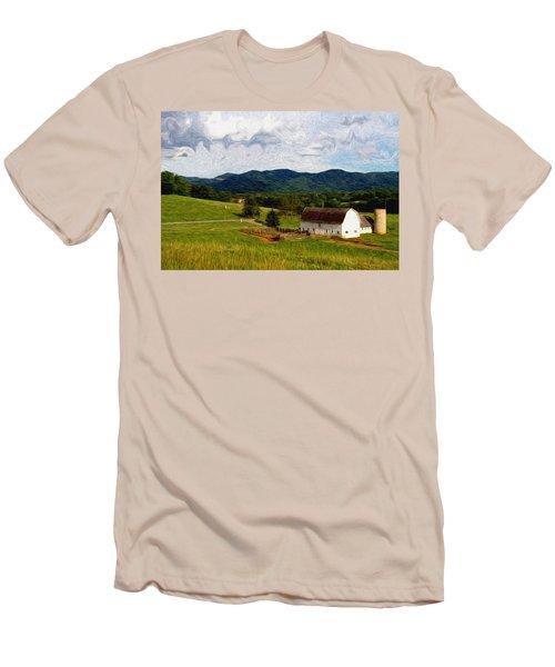 Men's T-Shirt (Slim Fit) featuring the painting Impressionist Farming by John Haldane