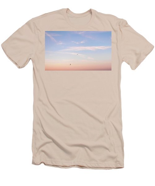 Men's T-Shirt (Slim Fit) featuring the photograph In Flight Over Rehoboth Bay by Pamela Hyde Wilson