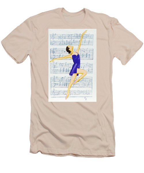 Men's T-Shirt (Slim Fit) featuring the painting In Sync With The Music by Margaret Harmon