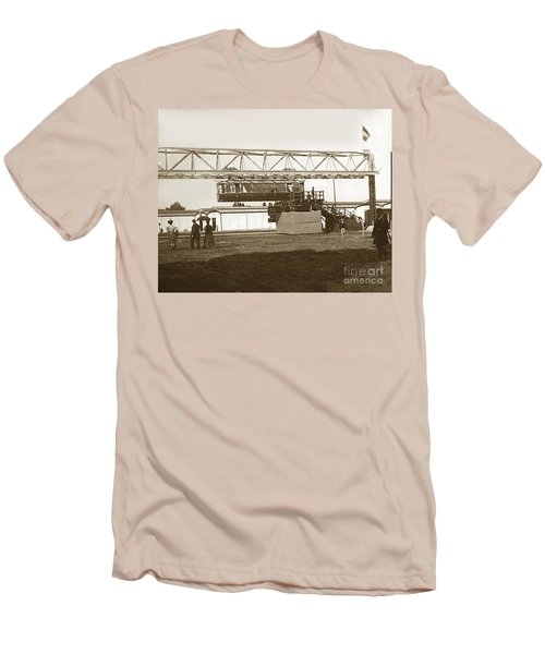 Men's T-Shirt (Slim Fit) featuring the photograph Incredible Hanging Railway  1900 by California Views Mr Pat Hathaway Archives