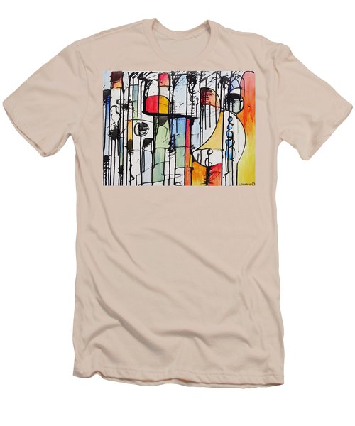 Men's T-Shirt (Slim Fit) featuring the painting Internal Opposition by Jason Williamson