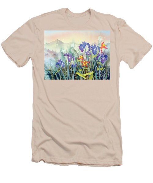 Men's T-Shirt (Slim Fit) featuring the painting Iris And Columbine II by Teresa Ascone