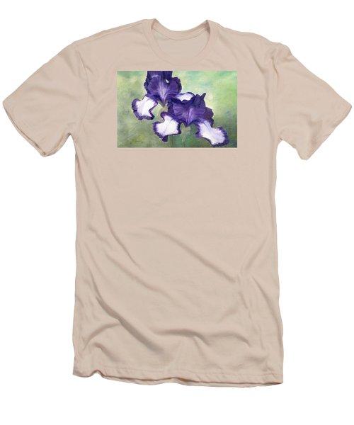 Irises Duet In Purple Flowers Colorful Original Painting Garden Iris Flowers Floral K. Joann Russell Men's T-Shirt (Slim Fit) by Elizabeth Sawyer