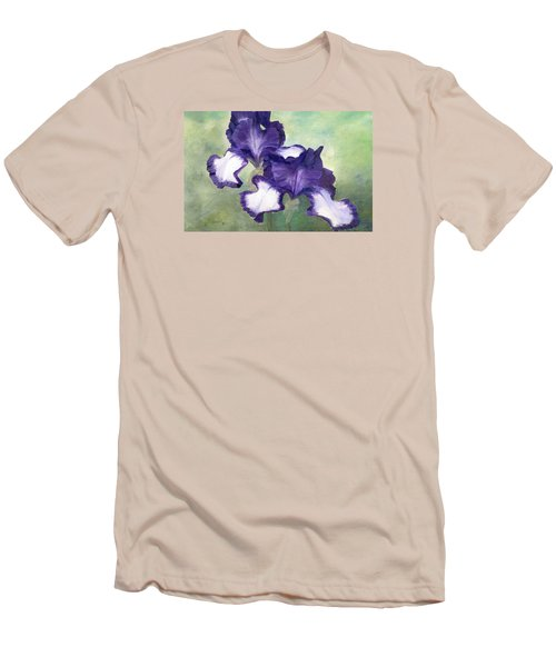 Irises Duet In Purple Flowers Colorful Original Painting Garden Iris Flowers Floral K. Joann Russell Men's T-Shirt (Athletic Fit)