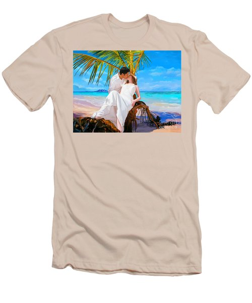 Men's T-Shirt (Slim Fit) featuring the painting Island Honeymoon by Tim Gilliland