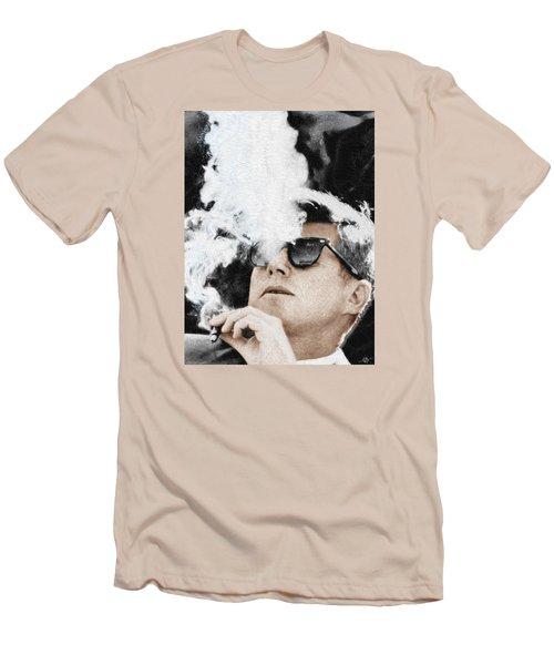 John F Kennedy Cigar And Sunglasses Men's T-Shirt (Slim Fit) by Tony Rubino