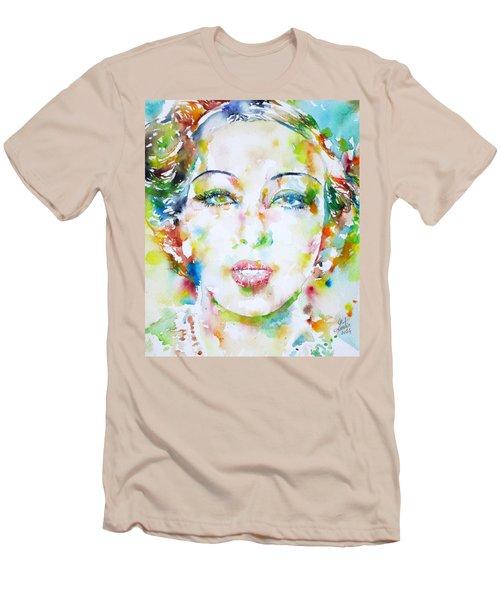 Josephine Baker - Watercolor Portrait Men's T-Shirt (Slim Fit) by Fabrizio Cassetta