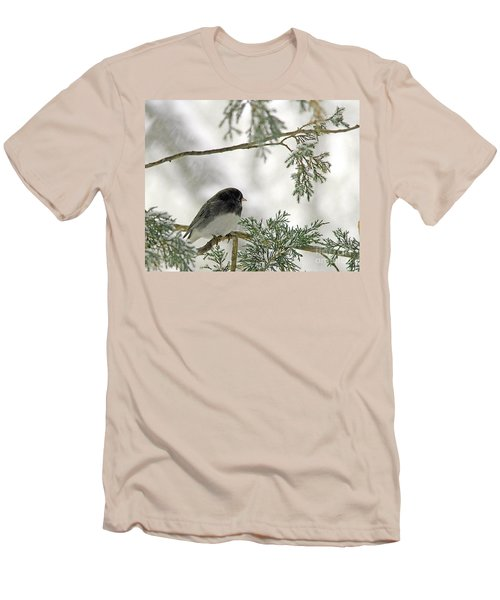 Men's T-Shirt (Slim Fit) featuring the photograph Junco In Snowstorm by Paula Guttilla