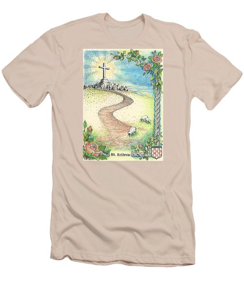 Men's T-Shirt (Slim Fit) featuring the drawing Krizevac - Cross Mountain by Christina Verdgeline
