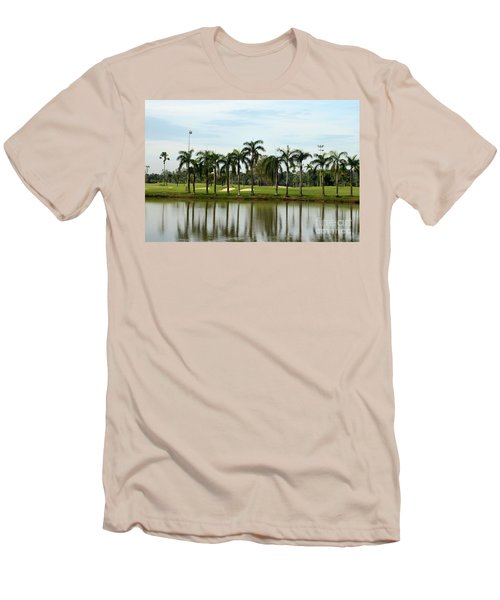 Lake Sand Traps Palm Trees And Golf Course Singapore Men's T-Shirt (Slim Fit) by Imran Ahmed
