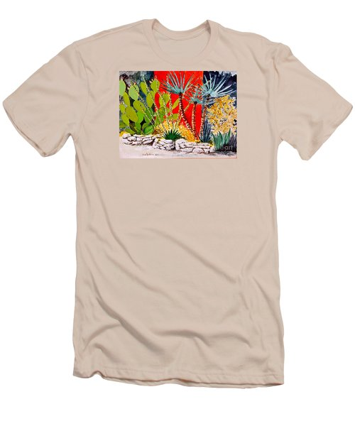 Lake Travis Cactus Garden Men's T-Shirt (Slim Fit) by Fred Jinkins