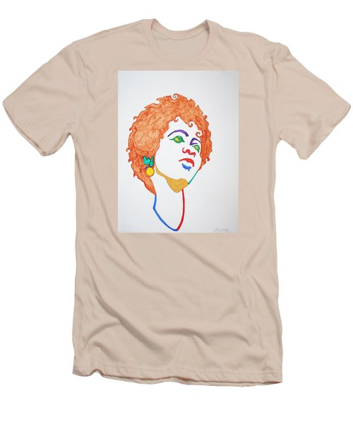 Men's T-Shirt (Slim Fit) featuring the painting Lauryn Hill  by Stormm Bradshaw