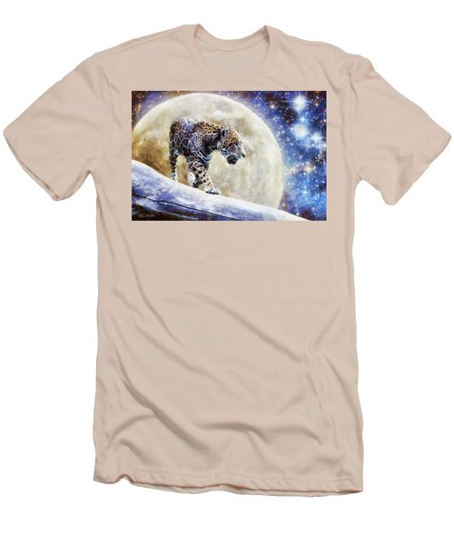 Men's T-Shirt (Slim Fit) featuring the painting Leopard Moon by Greg Collins